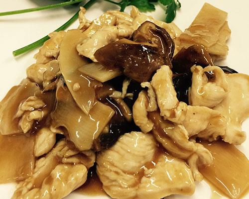 Pollo con bambù e funghi cinesi