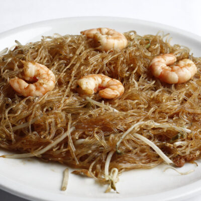 Spaghetti di soia con gamberi